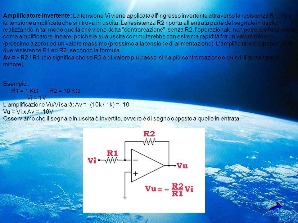 Amplificatore invertente: La tensione Vi viene applicata all'ingresso invertente attraverso la resistenza R1; Vu è la tensione amplificata che si ritr