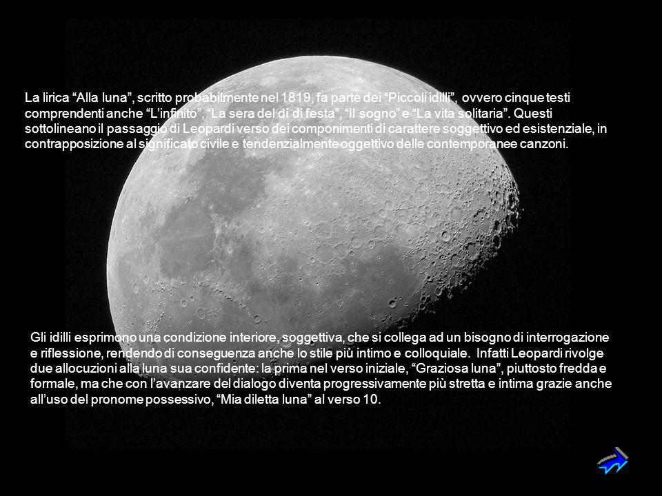 """La lirica """"Alla luna"""", scritto probabilmente nel 1819, fa parte dei """"Piccoli idilli"""", ovvero cinque testi comprendenti anche """"L'infinito"""", """"La sera de"""