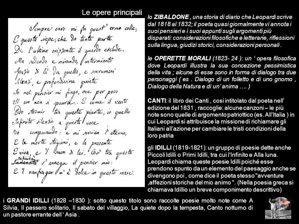 lo ZIBALDONE, una storia di diario che Leopardi scrive dal 1818 al 1832; il poeta quasi giornalmente vi annota i suoi pensieri e i suoi appunti sugli