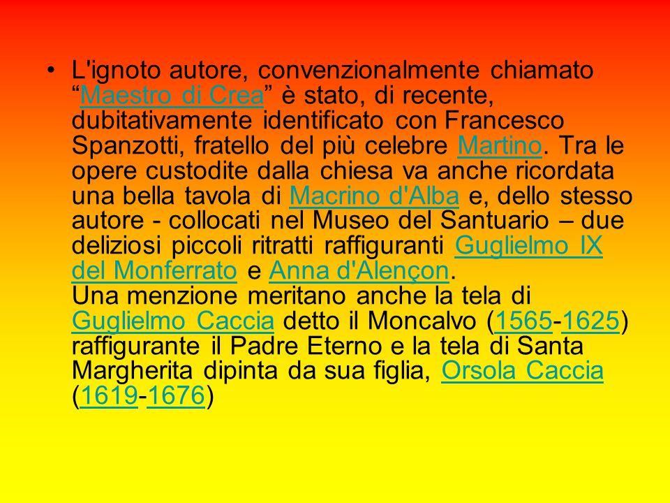 """L'ignoto autore, convenzionalmente chiamato """"Maestro di Crea"""" è stato, di recente, dubitativamente identificato con Francesco Spanzotti, fratello del"""