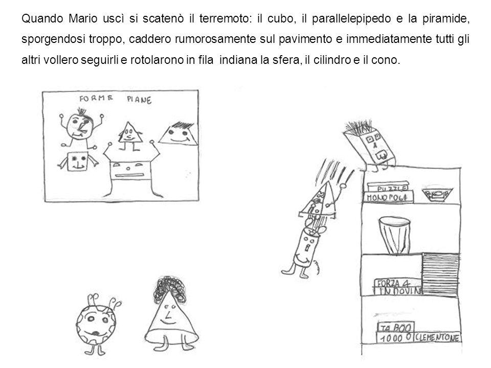 Quando Mario uscì si scatenò il terremoto: il cubo, il parallelepipedo e la piramide, sporgendosi troppo, caddero rumorosamente sul pavimento e immediatamente tutti gli altri vollero seguirli e rotolarono in fila indiana la sfera, il cilindro e il cono.
