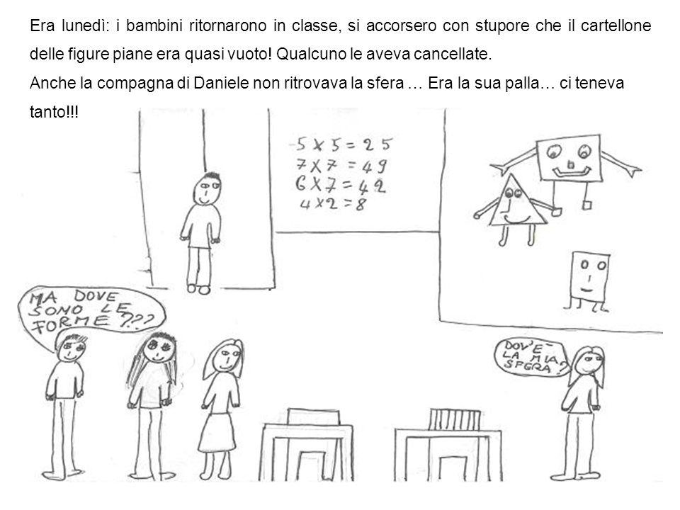 Era lunedì: i bambini ritornarono in classe, si accorsero con stupore che il cartellone delle figure piane era quasi vuoto.