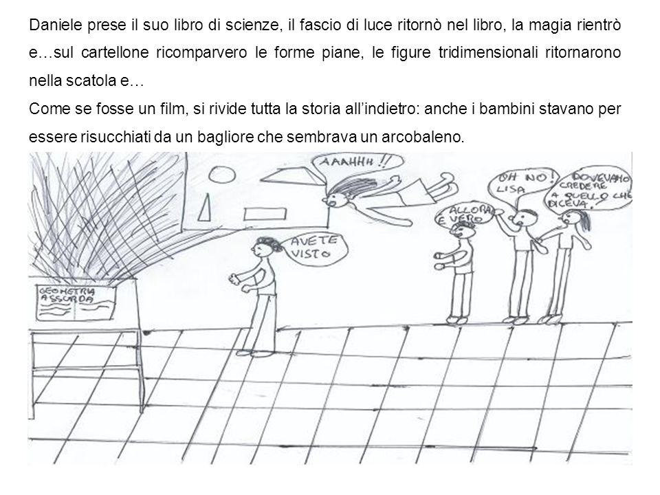 Daniele prese il suo libro di scienze, il fascio di luce ritornò nel libro, la magia rientrò e…sul cartellone ricomparvero le forme piane, le figure t