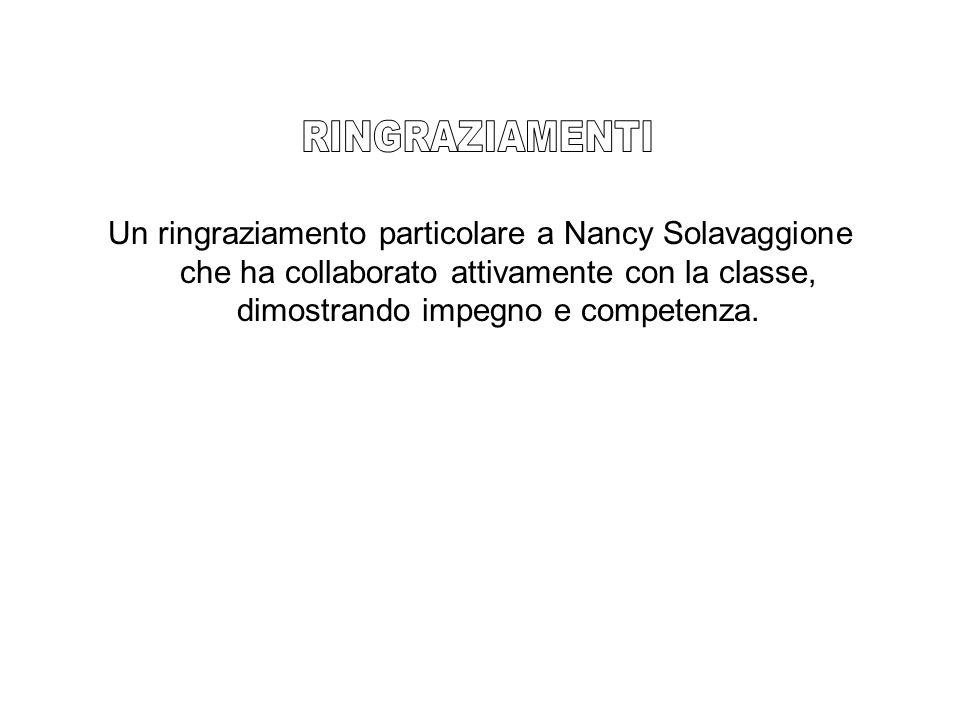 Un ringraziamento particolare a Nancy Solavaggione che ha collaborato attivamente con la classe, dimostrando impegno e competenza.
