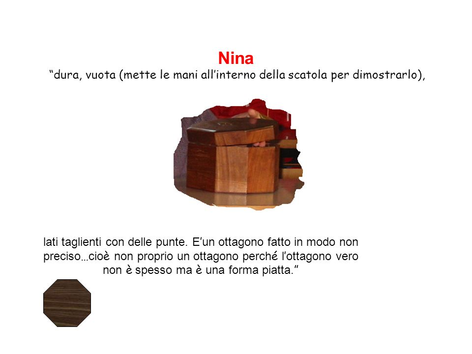 """Nina """"dura, vuota (mette le mani all'interno della scatola per dimostrarlo), lati taglienti con delle punte. E ' un ottagono fatto in modo non preciso"""