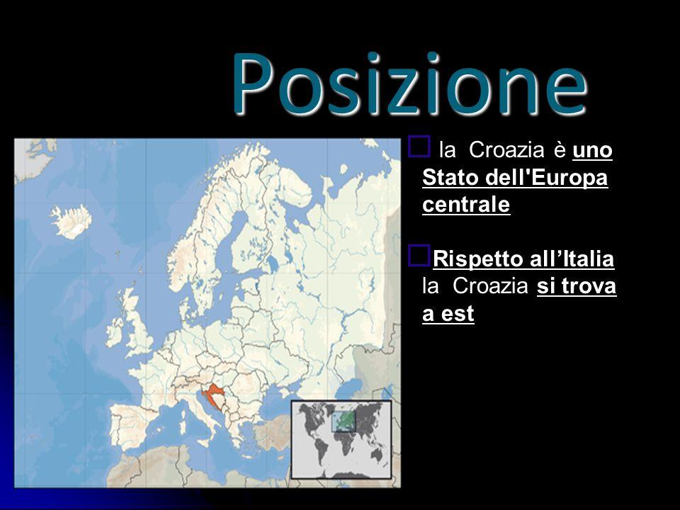 Posizione  la Croazia è uno Stato dell'Europa centrale  Rispetto all'Italia la Croazia si trova a est