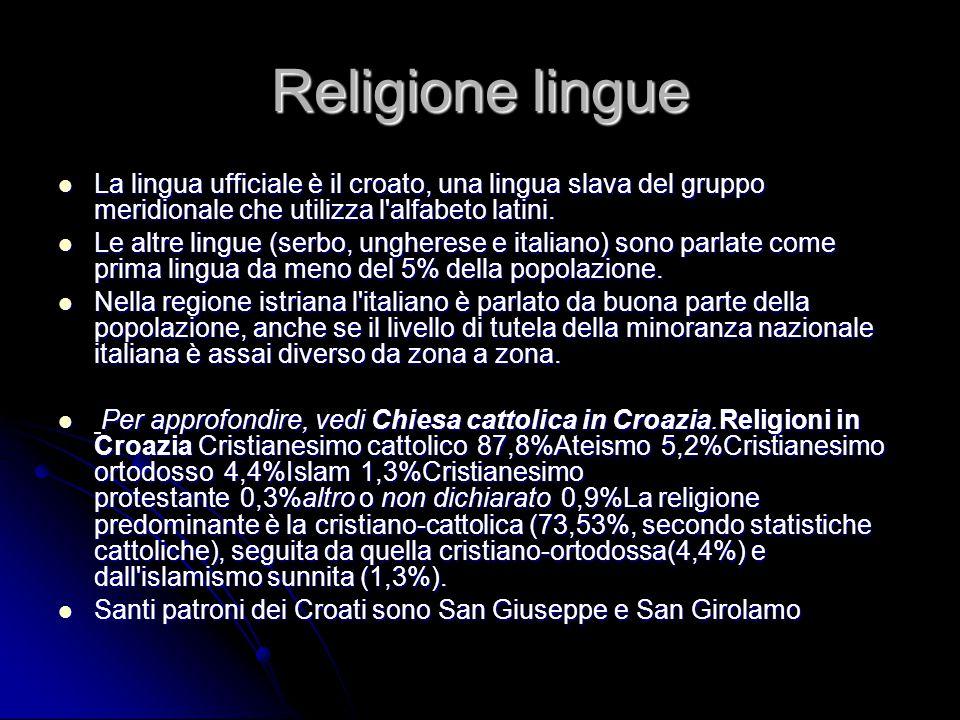 Religione lingue La lingua ufficiale è il croato, una lingua slava del gruppo meridionale che utilizza l'alfabeto latini. La lingua ufficiale è il cro