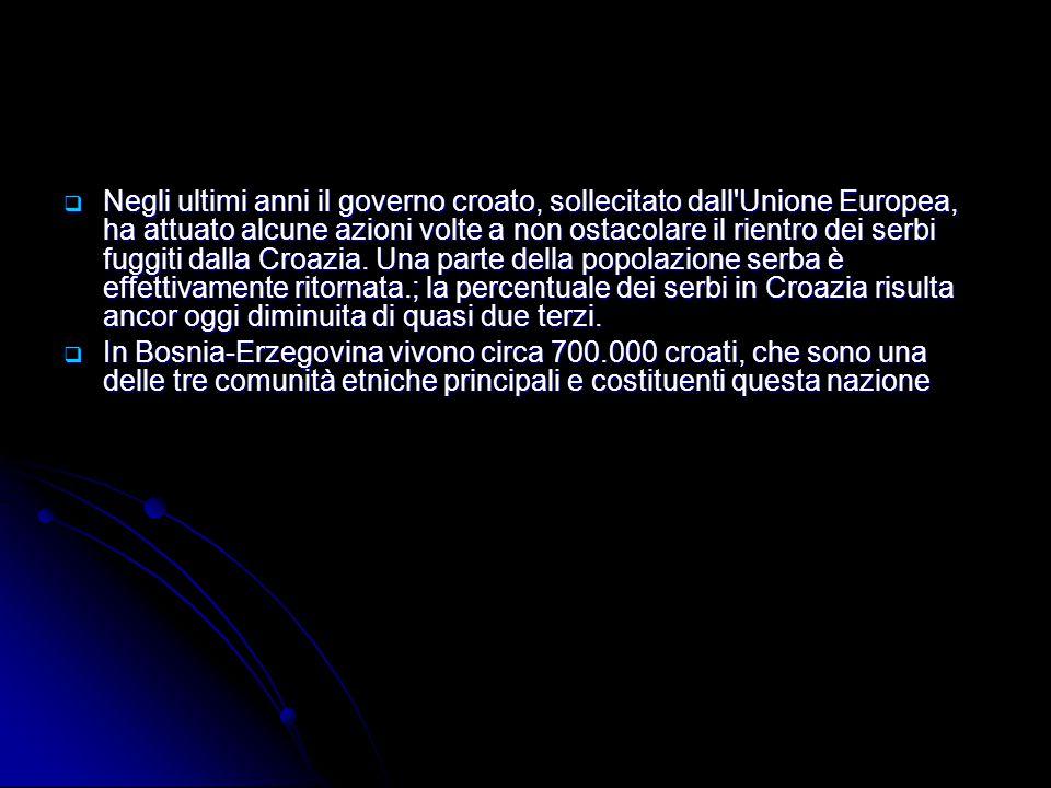  Negli ultimi anni il governo croato, sollecitato dall'Unione Europea, ha attuato alcune azioni volte a non ostacolare il rientro dei serbi fuggiti d