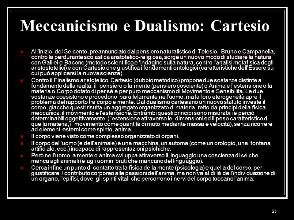 25 Meccanicismo e Dualismo: Cartesio All'inizio del Seicento, preannunciato dal pensiero naturalistico di Telesio, Bruno e Campanella, contro la perdu