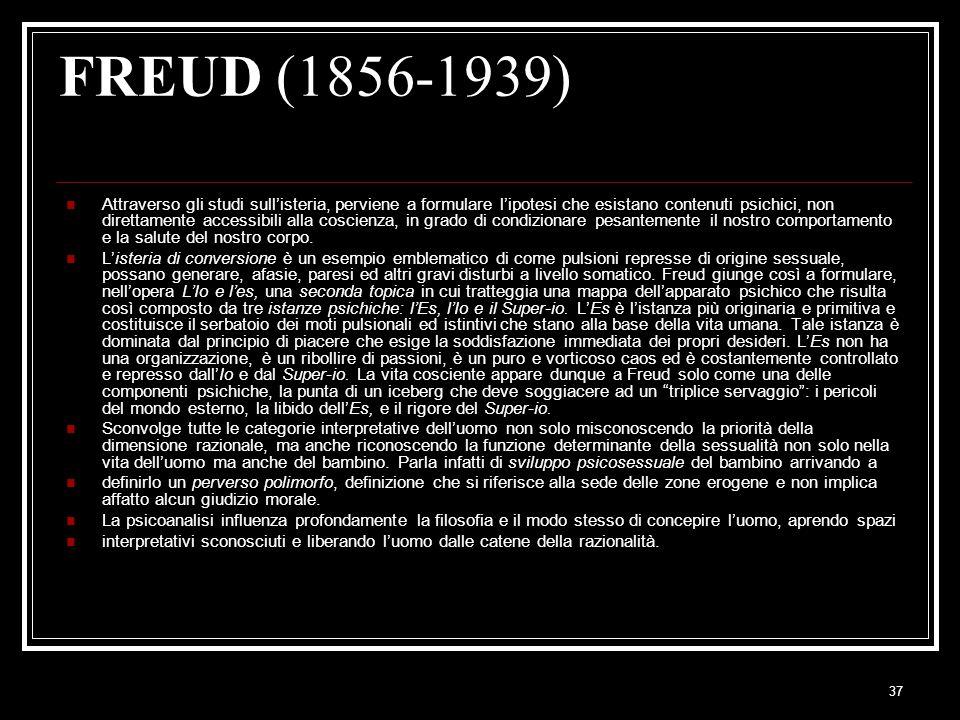37 FREUD (1856-1939) Attraverso gli studi sull'isteria, perviene a formulare l'ipotesi che esistano contenuti psichici, non direttamente accessibili alla coscienza, in grado di condizionare pesantemente il nostro comportamento e la salute del nostro corpo.