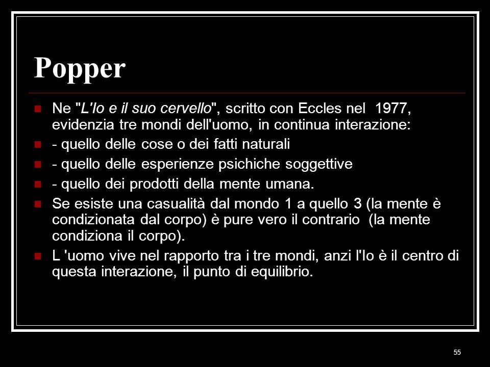 55 Popper Ne L Io e il suo cervello , scritto con Eccles nel 1977, evidenzia tre mondi dell uomo, in continua interazione: - quello delle cose o dei fatti naturali - quello delle esperienze psichiche soggettive - quello dei prodotti della mente umana.