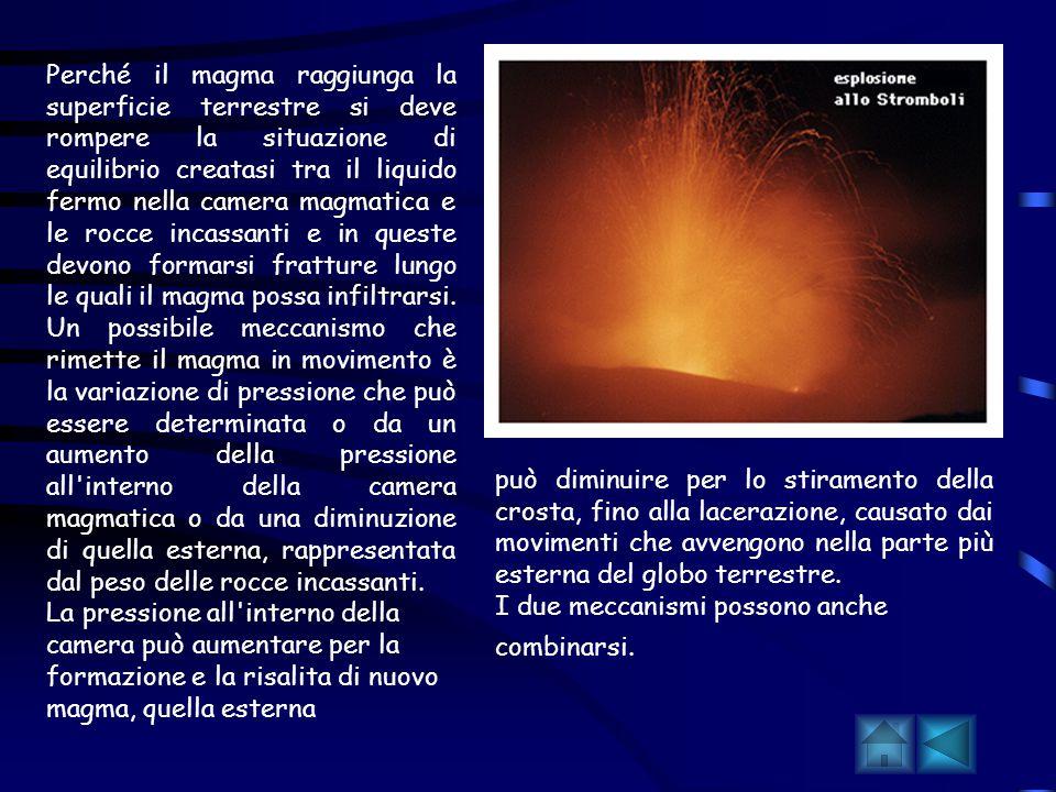 Perché avvengono le eruzioni Dal mantello terrestre, il magma risale verso l alto perché è meno denso, e quindi meno pesante, del materiale solido che gli sta intorno, come una bolla d aria o un pezzo di legno che risale nell acqua.