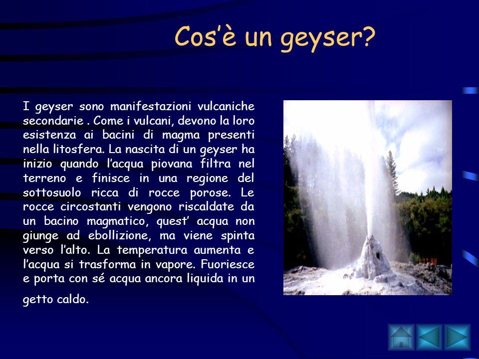 Il vulcanesimo secondario I fenomeni vulcanici non si esauriscono con la fine delle eruzioni ma continuano con l'emissione di gas caldi e vapore acque