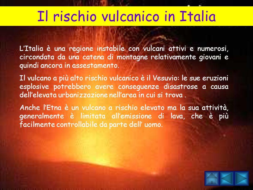 IL RISCHIO VULCANICO I principali pericoli derivanti dall'attività vulcanica sono rappresentati dalla caduta di frammenti solidi di dimensioni e temperatura variabili, dallo scorrimento di colate di lava, flussi piroclastici e colate di fango, dall'emissione di gas vulcanici, da terremoti, frane, inondazioni, ecc.