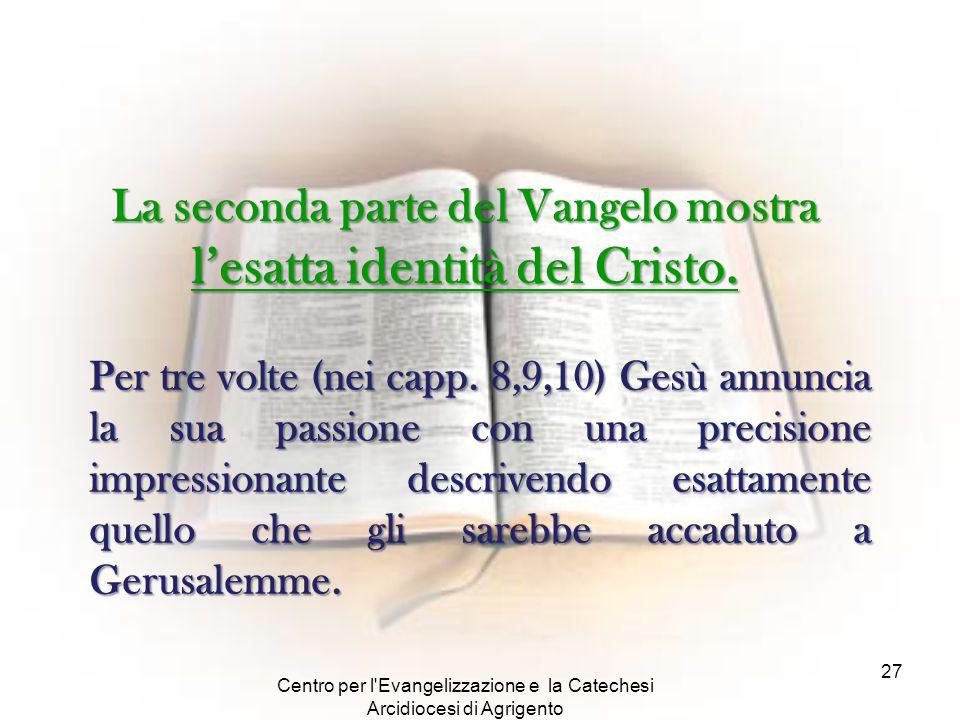 Centro per l'Evangelizzazione e la Catechesi Arcidiocesi di Agrigento 27 La seconda parte del Vangelo mostra l'esatta identità del Cristo. Per tre vol
