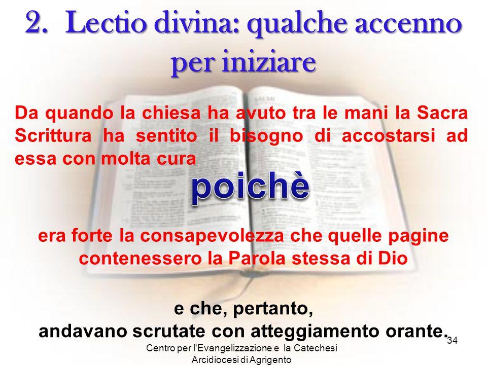 Centro per l'Evangelizzazione e la Catechesi Arcidiocesi di Agrigento 34 2. Lectio divina: qualche accenno per iniziare Da quando la chiesa ha avuto t