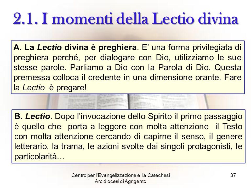 Centro per l'Evangelizzazione e la Catechesi Arcidiocesi di Agrigento 37 2.1. I momenti della Lectio divina A. La Lectio divina è preghiera. E' una fo