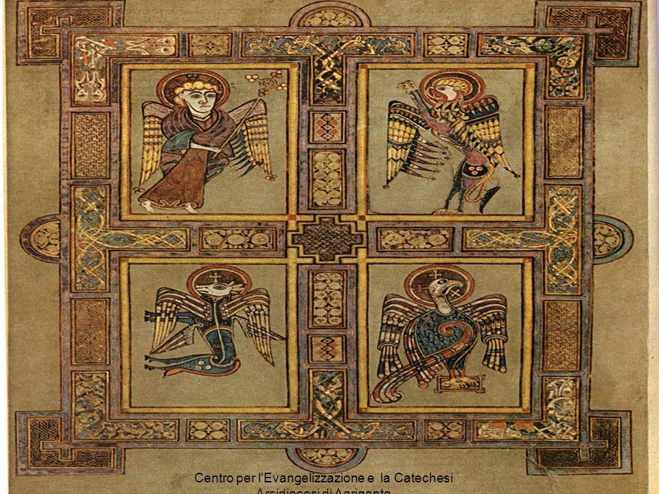 MATTEO simboleggiato nell'uomo alato (o angelo), perché il suo Vangelo inizia con l'elenco degli uomini antenati di Gesù Messia MARCO simboleggiato ne
