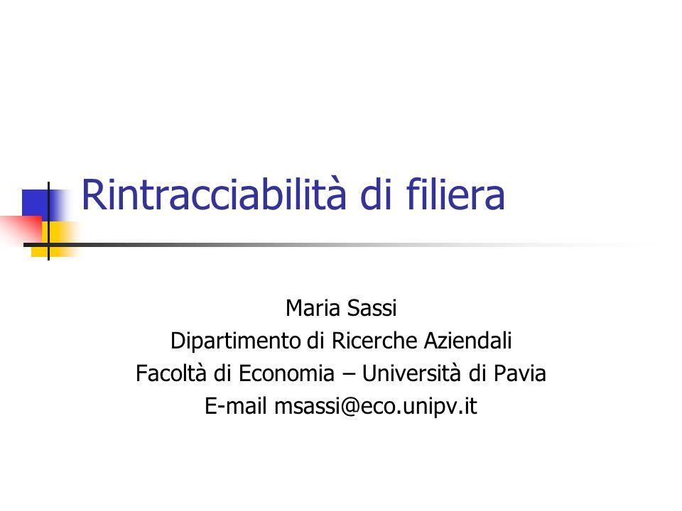Maria Sassi Dipartimento di Ricerche Aziendali Facoltà di Economia – Università di Pavia E-mail msassi@eco.unipv.it Rintracciabilità di filiera