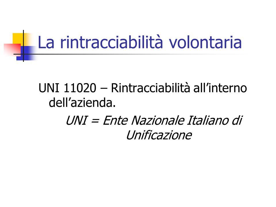 La rintracciabilità volontaria UNI 11020 – Rintracciabilità all'interno dell'azienda.
