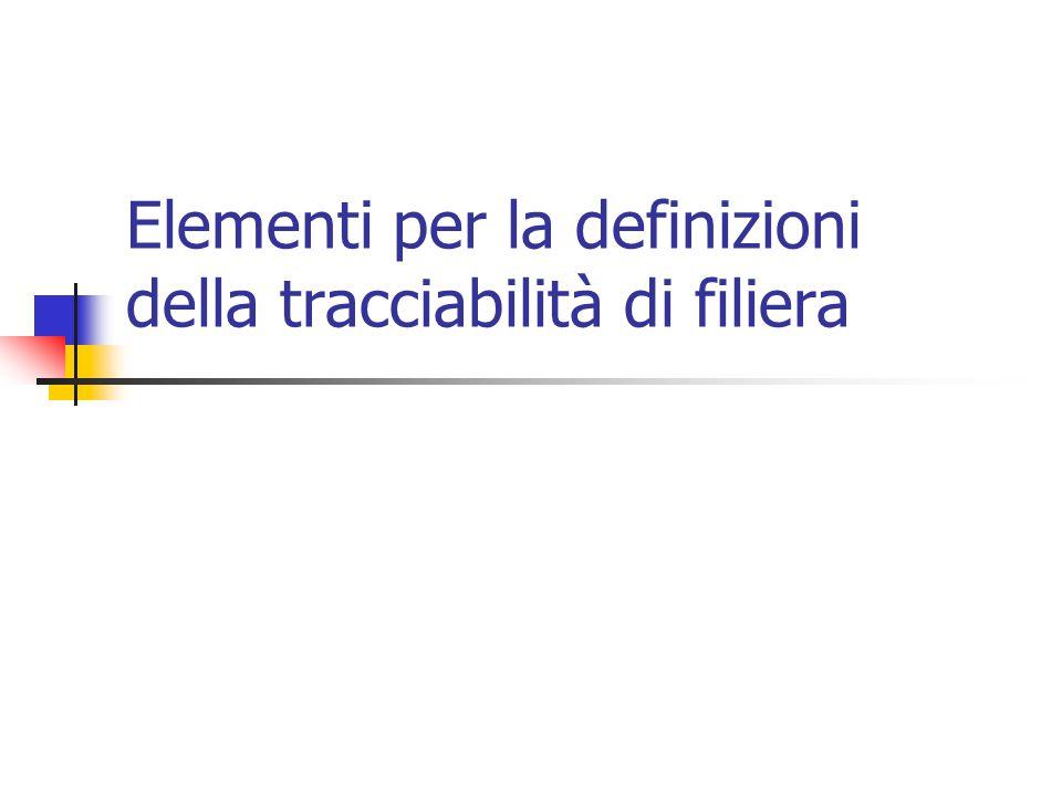 Elementi per la definizioni della tracciabilità di filiera