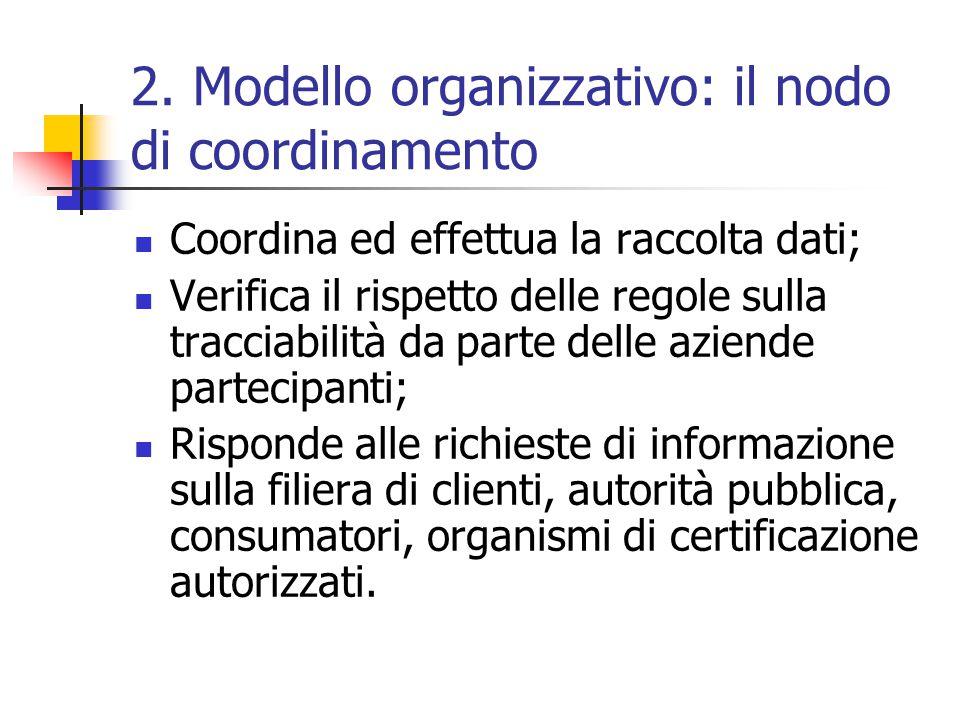 2. Modello organizzativo: il nodo di coordinamento Coordina ed effettua la raccolta dati; Verifica il rispetto delle regole sulla tracciabilità da par