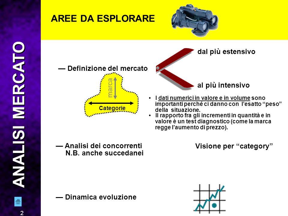 2 AREE DA ESPLORARE — Definizione del mercato dal più estensivo al più intensivo — Analisi dei concorrenti N.B.
