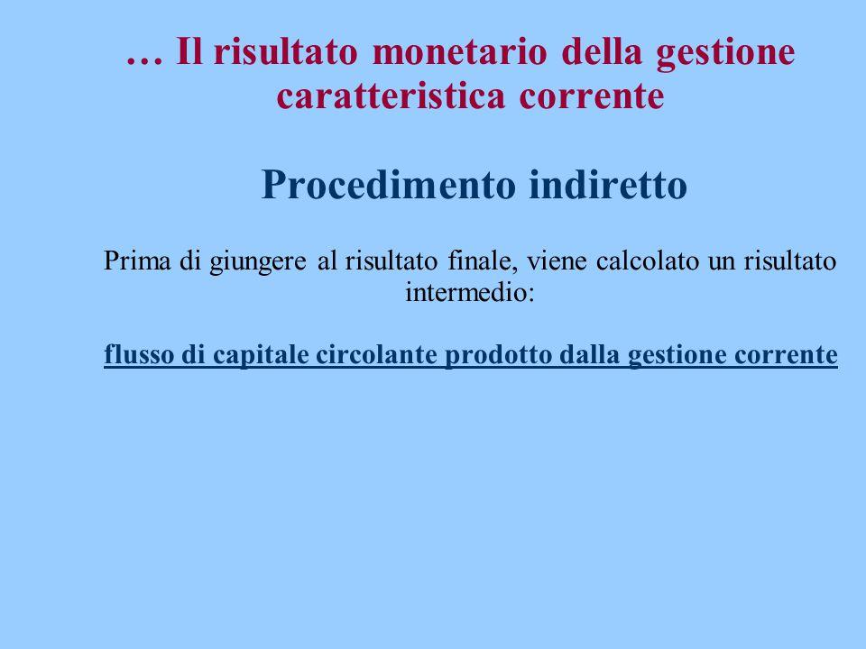 … Il risultato monetario della gestione caratteristica corrente Procedimento indiretto Prima di giungere al risultato finale, viene calcolato un risultato intermedio: flusso di capitale circolante prodotto dalla gestione corrente