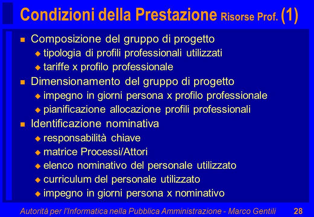 Autorità per l'Informatica nella Pubblica Amministrazione - Marco Gentili28 Condizioni della Prestazione Risorse Prof. (1) n Composizione del gruppo d