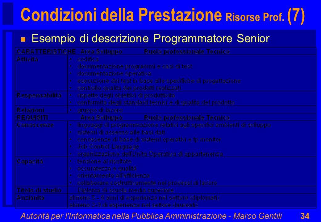 Autorità per l'Informatica nella Pubblica Amministrazione - Marco Gentili34 Condizioni della Prestazione Risorse Prof. (7) n Esempio di descrizione Pr