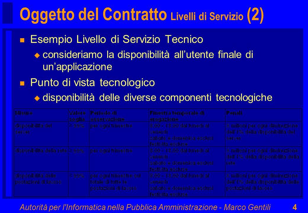Autorità per l Informatica nella Pubblica Amministrazione - Marco Gentili4 Oggetto del Contratto Livelli di Servizio (2) n Esempio Livello di Servizio Tecnico u consideriamo la disponibilità all'utente finale di un'applicazione n Punto di vista tecnologico u disponibilità delle diverse componenti tecnologiche