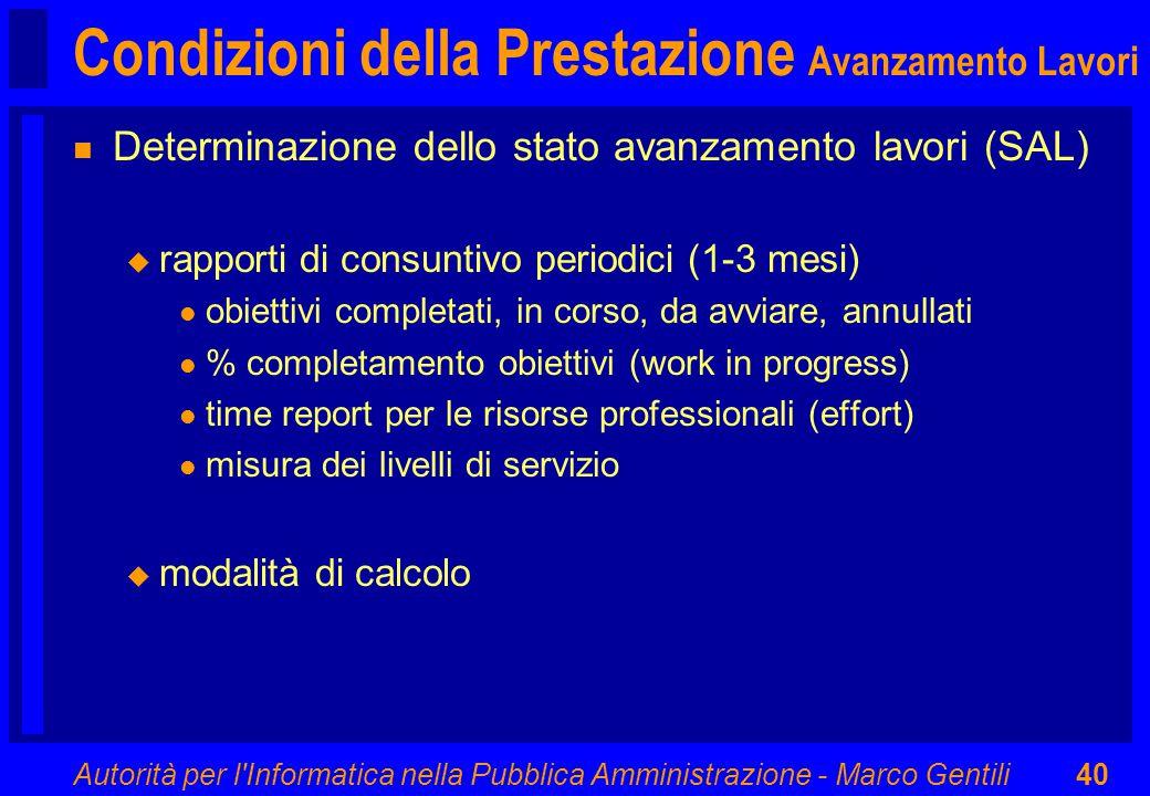 Autorità per l'Informatica nella Pubblica Amministrazione - Marco Gentili40 Condizioni della Prestazione Avanzamento Lavori n Determinazione dello sta