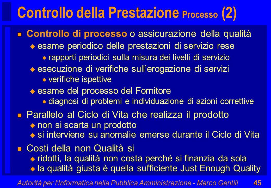 Autorità per l'Informatica nella Pubblica Amministrazione - Marco Gentili45 Controllo della Prestazione Processo (2) n Controllo di processo o assicur