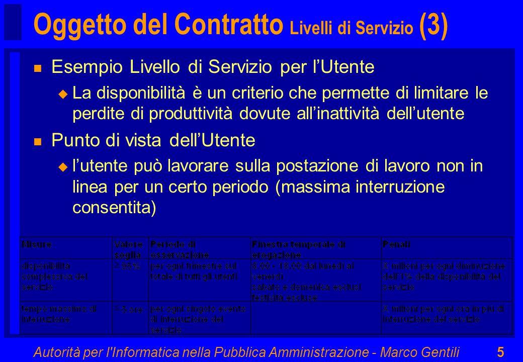 Autorità per l Informatica nella Pubblica Amministrazione - Marco Gentili5 Oggetto del Contratto Livelli di Servizio (3) n Esempio Livello di Servizio per l'Utente u La disponibilità è un criterio che permette di limitare le perdite di produttività dovute all'inattività dell'utente n Punto di vista dell'Utente u l'utente può lavorare sulla postazione di lavoro non in linea per un certo periodo (massima interruzione consentita)