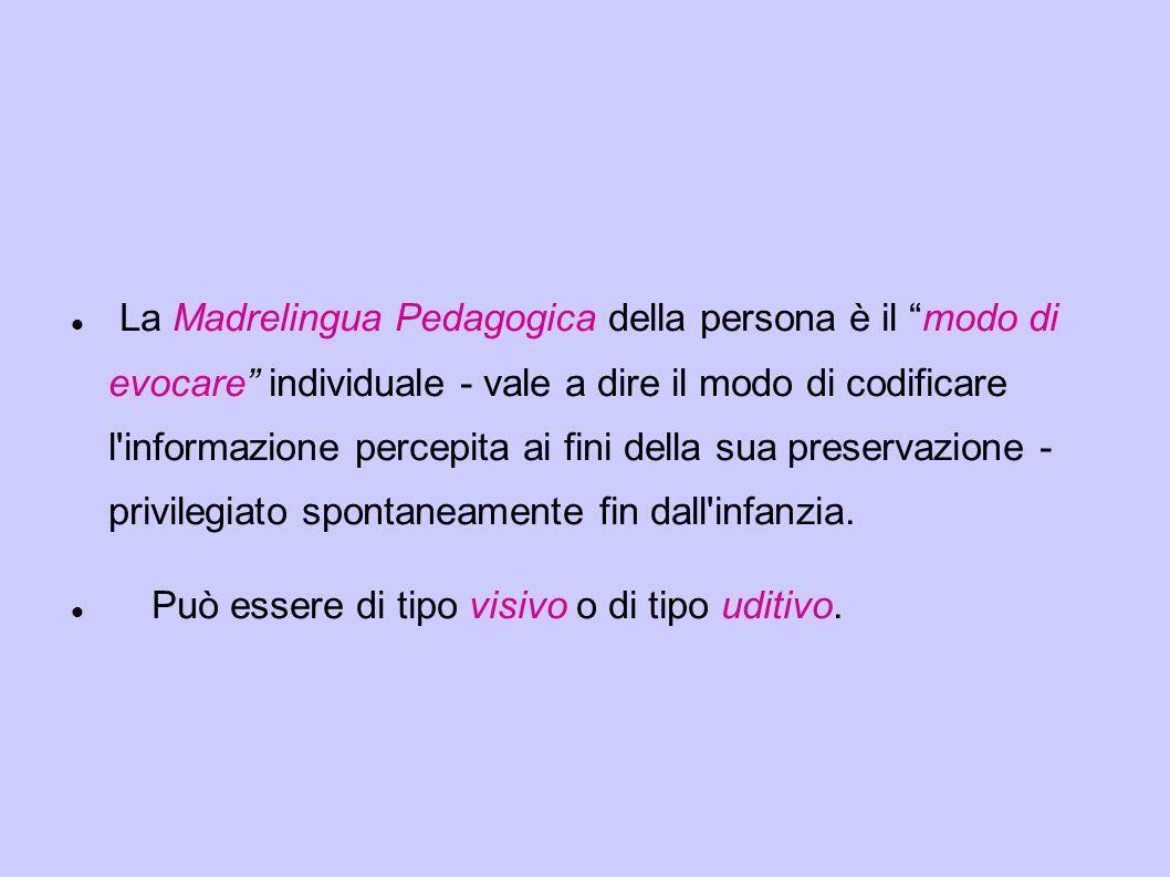 """La Madrelingua Pedagogica della persona è il """"modo di evocare"""" individuale - vale a dire il modo di codificare l'informazione percepita ai fini della"""