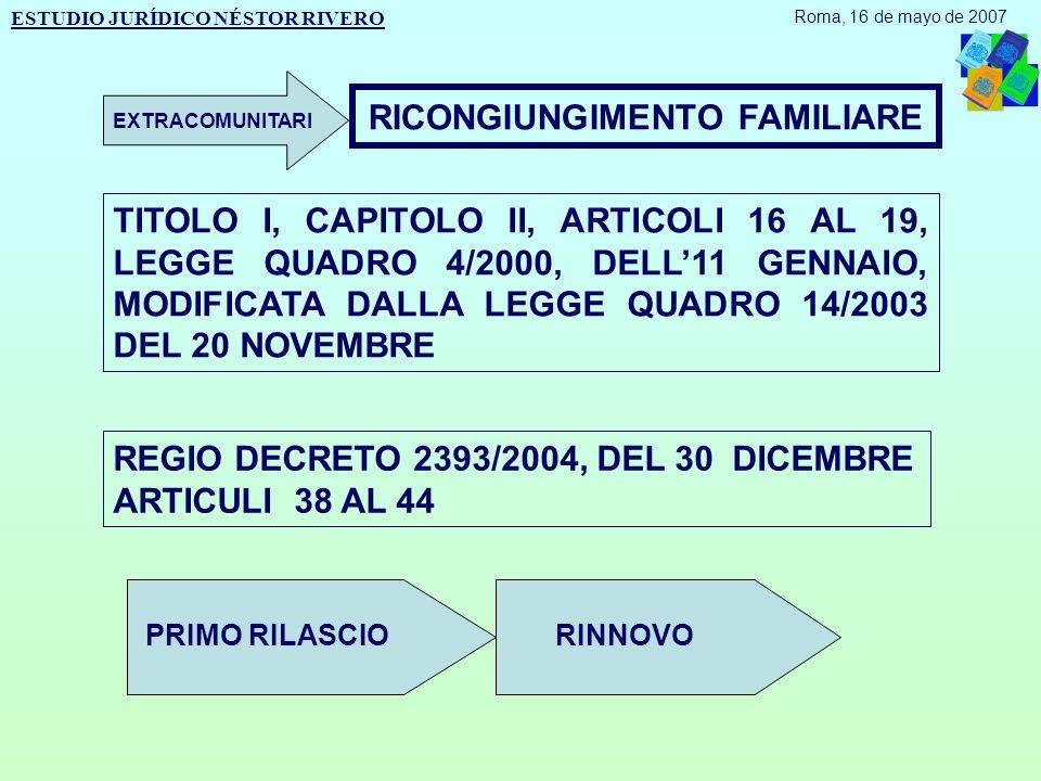 RICONGIUNGIMENTO FAMILIARE TITOLO I, CAPITOLO II, ARTICOLI 16 AL 19, LEGGE QUADRO 4/2000, DELL'11 GENNAIO, MODIFICATA DALLA LEGGE QUADRO 14/2003 DEL 20 NOVEMBRE REGIO DECRETO 2393/2004, DEL 30 DICEMBRE ARTICULI 38 AL 44 PRIMO RILASCIORINNOVO ESTUDIO JURÍDICO NÉSTOR RIVERO Roma, 16 de mayo de 2007 EXTRACOMUNITARI