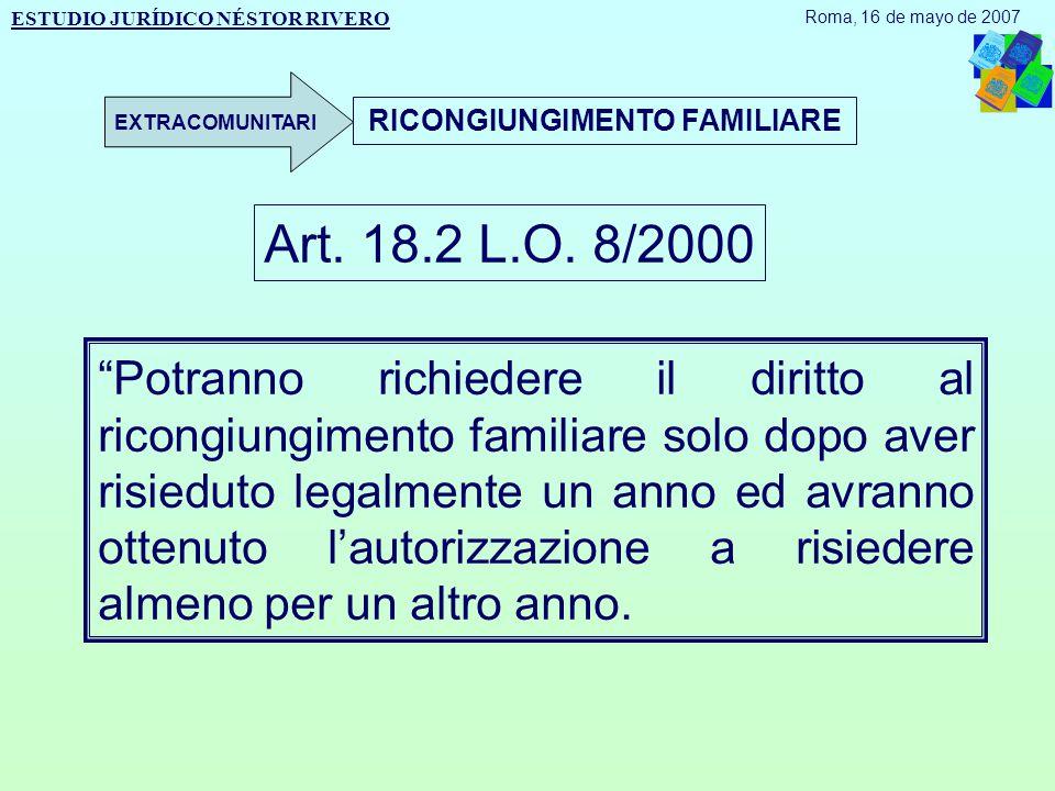 RICONGIUNGIMENTO FAMILIARE Art. 18.2 L.O.