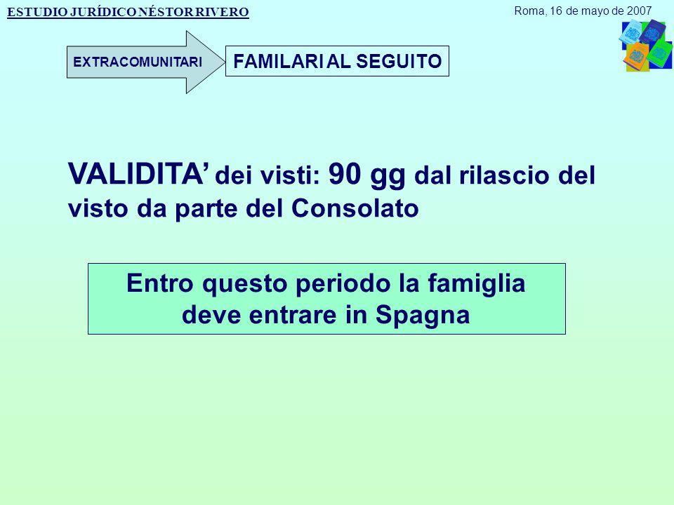 FAMILARI AL SEGUITO Entro questo periodo la famiglia deve entrare in Spagna VALIDITA' dei visti: 90 gg dal rilascio del visto da parte del Consolato ESTUDIO JURÍDICO NÉSTOR RIVERO Roma, 16 de mayo de 2007 EXTRACOMUNITARI