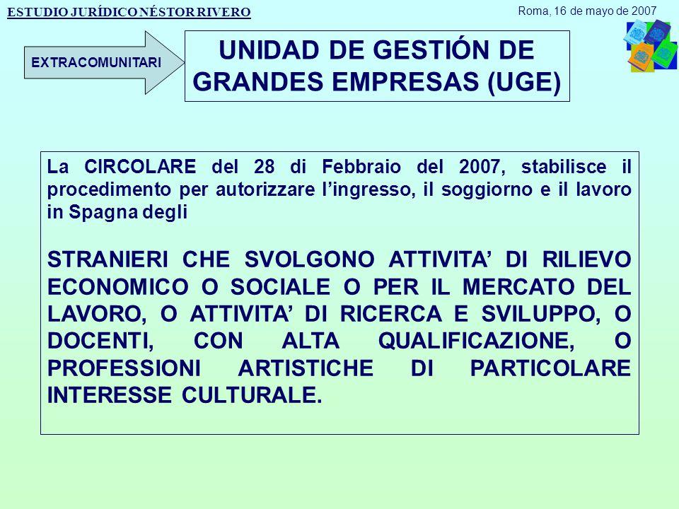 ESTUDIO JURÍDICO NÉSTOR RIVERO Roma, 16 de mayo de 2007 EXTRACOMUNITARI La CIRCOLARE del 28 di Febbraio del 2007, stabilisce il procedimento per autorizzare l'ingresso, il soggiorno e il lavoro in Spagna degli STRANIERI CHE SVOLGONO ATTIVITA' DI RILIEVO ECONOMICO O SOCIALE O PER IL MERCATO DEL LAVORO, O ATTIVITA' DI RICERCA E SVILUPPO, O DOCENTI, CON ALTA QUALIFICAZIONE, O PROFESSIONI ARTISTICHE DI PARTICOLARE INTERESSE CULTURALE.