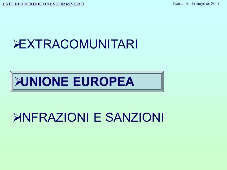  EXTRACOMUNITARI  UNIONE EUROPEA  INFRAZIONI E SANZIONI ESTUDIO JURÍDICO NÉSTOR RIVERO Roma, 16 de mayo de 2007
