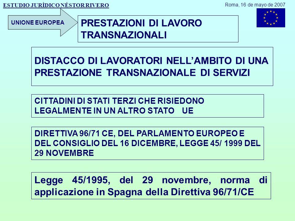 DISTACCO DI LAVORATORI NELL'AMBITO DI UNA PRESTAZIONE TRANSNAZIONALE DI SERVIZI CITTADINI DI STATI TERZI CHE RISIEDONO LEGALMENTE IN UN ALTRO STATO UE DIRETTIVA 96/71 CE, DEL PARLAMENTO EUROPEO E DEL CONSIGLIO DEL 16 DICEMBRE, LEGGE 45/ 1999 DEL 29 NOVEMBRE ESTUDIO JURÍDICO NÉSTOR RIVERO Roma, 16 de mayo de 2007 UNIONE EUROPEA PRESTAZIONI DI LAVORO TRANSNAZIONALI Legge 45/1995, del 29 novembre, norma di applicazione in Spagna della Direttiva 96/71/CE