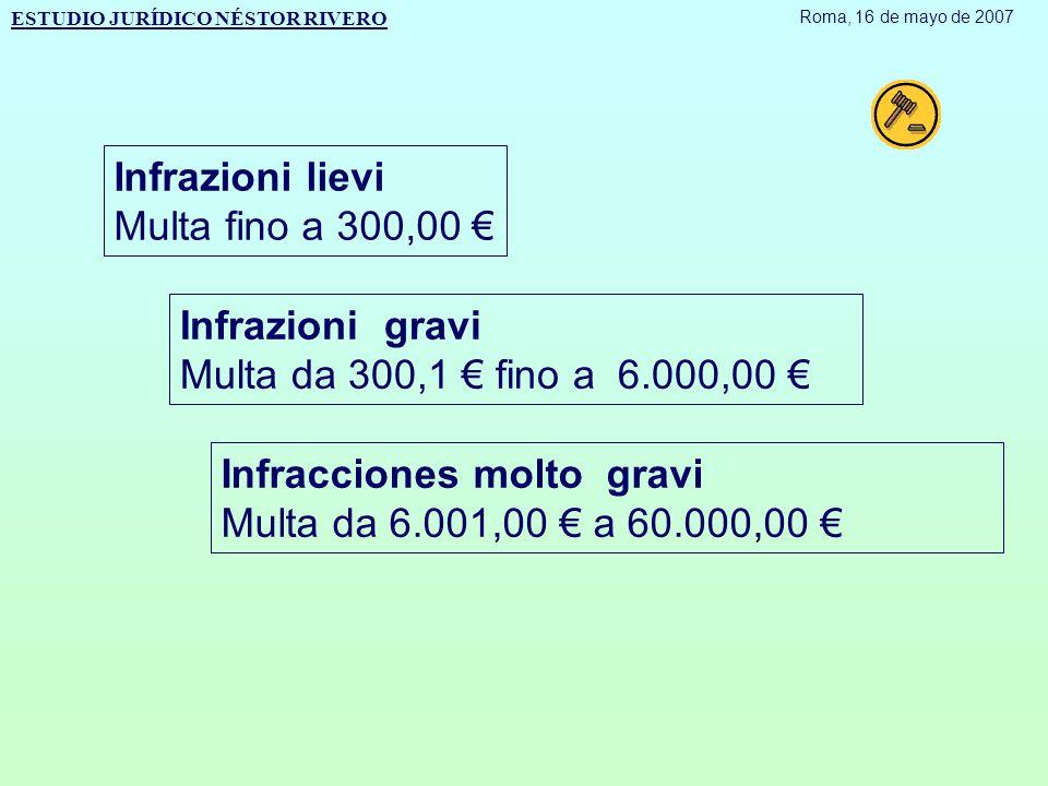 Infrazioni lievi Multa fino a 300,00 € Infrazioni gravi Multa da 300,1 € fino a 6.000,00 € Infracciones molto gravi Multa da 6.001,00 € a 60.000,00 € ESTUDIO JURÍDICO NÉSTOR RIVERO Roma, 16 de mayo de 2007