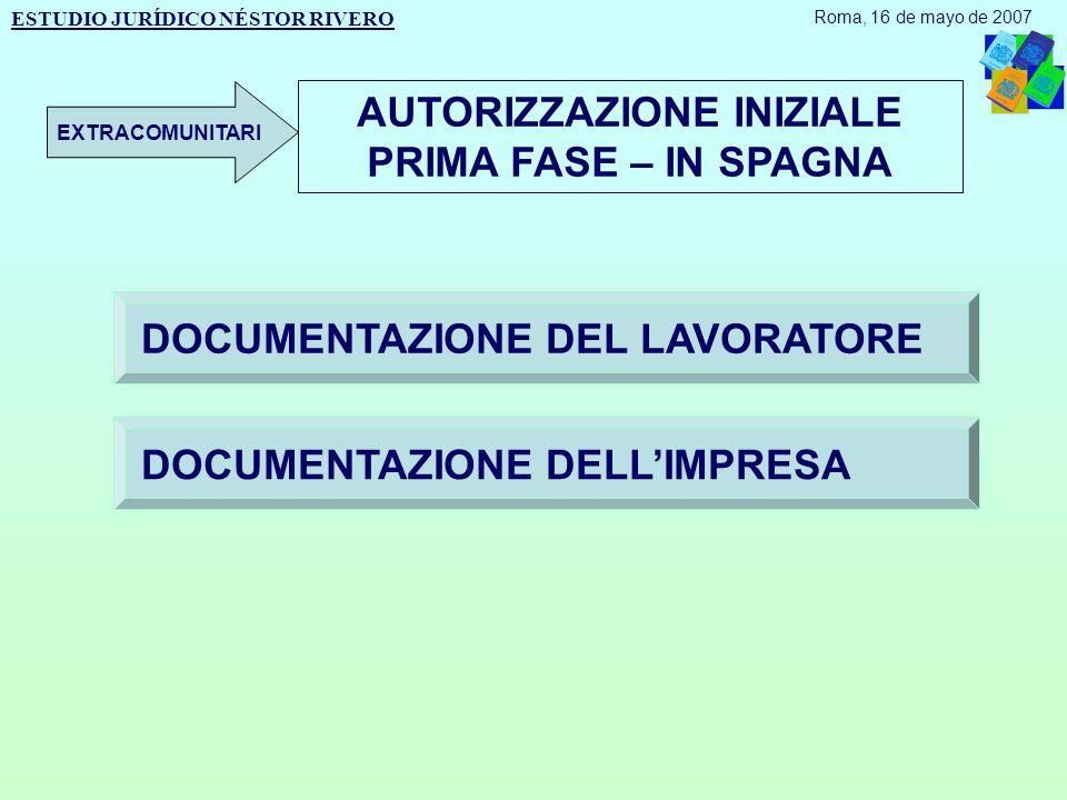 AUTORIZZAZIONE INIZIALE PRIMA FASE – IN SPAGNA DOCUMENTAZIONE DEL LAVORATORE DOCUMENTAZIONE DELL'IMPRESA ESTUDIO JURÍDICO NÉSTOR RIVERO Roma, 16 de mayo de 2007 EXTRACOMUNITARI
