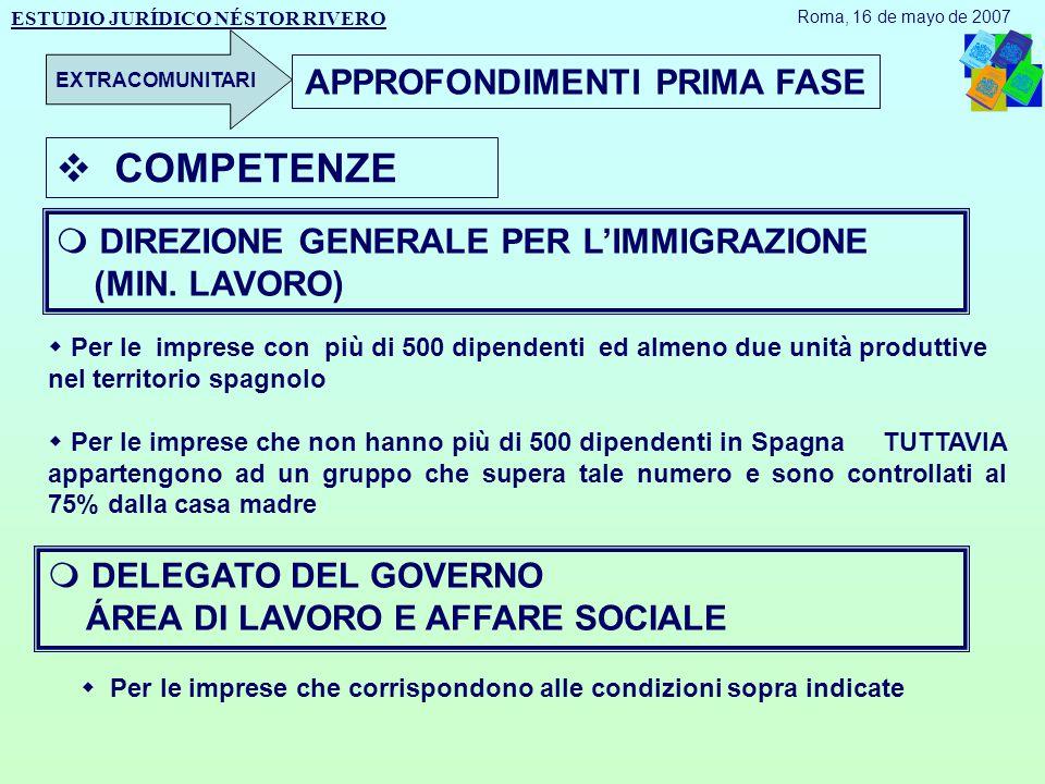 APPROFONDIMENTI PRIMA FASE  DIREZIONE GENERALE PER L'IMMIGRAZIONE (MIN.