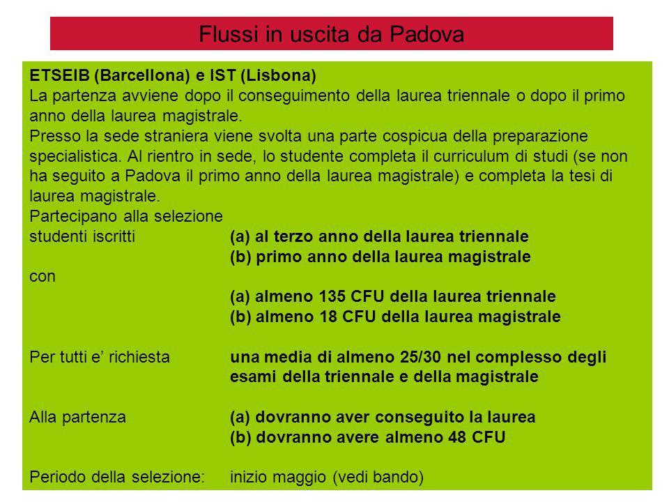 Flussi in uscita da Padova ETSEIB (Barcellona) e IST (Lisbona) La partenza avviene dopo il conseguimento della laurea triennale o dopo il primo anno della laurea magistrale.
