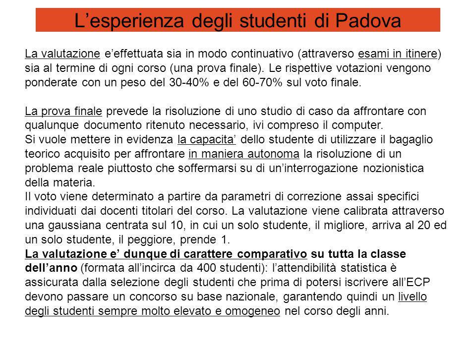 L'esperienza degli studenti di Padova La valutazione e'effettuata sia in modo continuativo (attraverso esami in itinere) sia al termine di ogni corso (una prova finale).