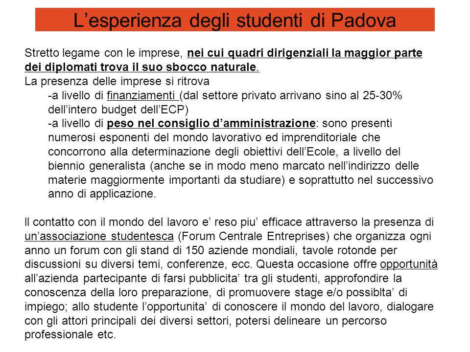 L'esperienza degli studenti di Padova Stretto legame con le imprese, nei cui quadri dirigenziali la maggior parte dei diplomati trova il suo sbocco naturale.