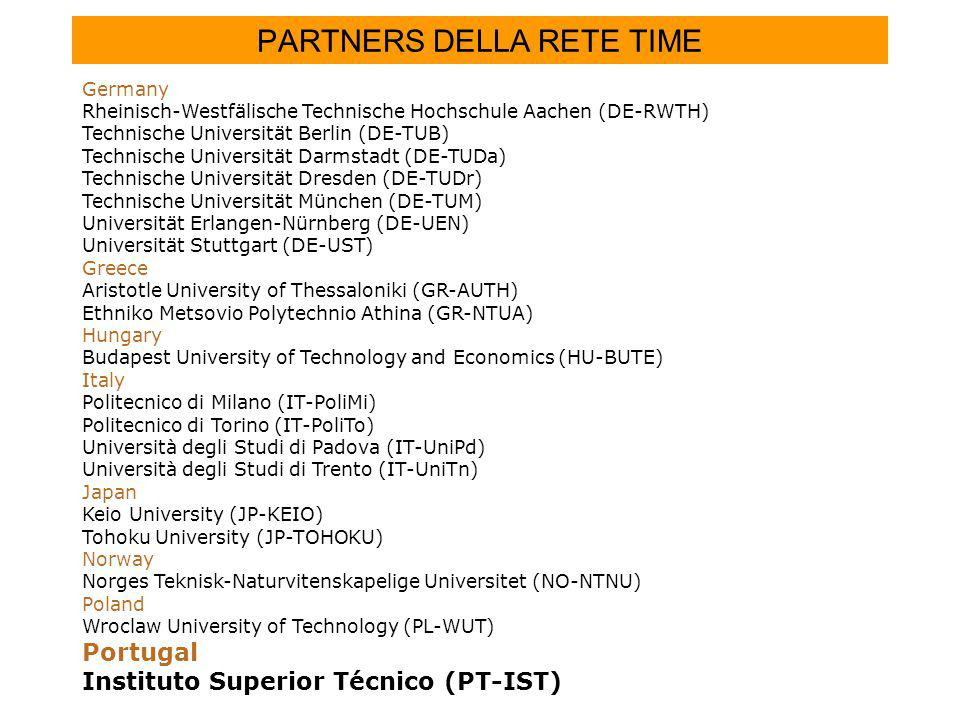 PARTNERS DELLA RETE TIME Germany Rheinisch-Westfälische Technische Hochschule Aachen (DE-RWTH) Technische Universität Berlin (DE-TUB) Technische Universität Darmstadt (DE-TUDa) Technische Universität Dresden (DE-TUDr) Technische Universität München (DE-TUM) Universität Erlangen-Nürnberg (DE-UEN) Universität Stuttgart (DE-UST) Greece Aristotle University of Thessaloniki (GR-AUTH) Ethniko Metsovio Polytechnio Athina (GR-NTUA) Hungary Budapest University of Technology and Economics (HU-BUTE) Italy Politecnico di Milano (IT-PoliMi) Politecnico di Torino (IT-PoliTo) Università degli Studi di Padova (IT-UniPd) Università degli Studi di Trento (IT-UniTn) Japan Keio University (JP-KEIO) Tohoku University (JP-TOHOKU) Norway Norges Teknisk-Naturvitenskapelige Universitet (NO-NTNU) Poland Wroclaw University of Technology (PL-WUT) Portugal Instituto Superior Técnico (PT-IST)