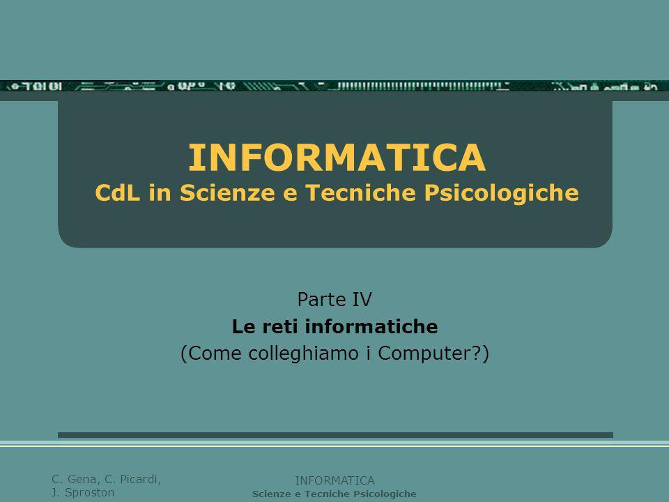 INFORMATICA Scienze e Tecniche Psicologiche C. Gena, C. Picardi, J. Sproston INFORMATICA CdL in Scienze e Tecniche Psicologiche Parte IV Le reti infor