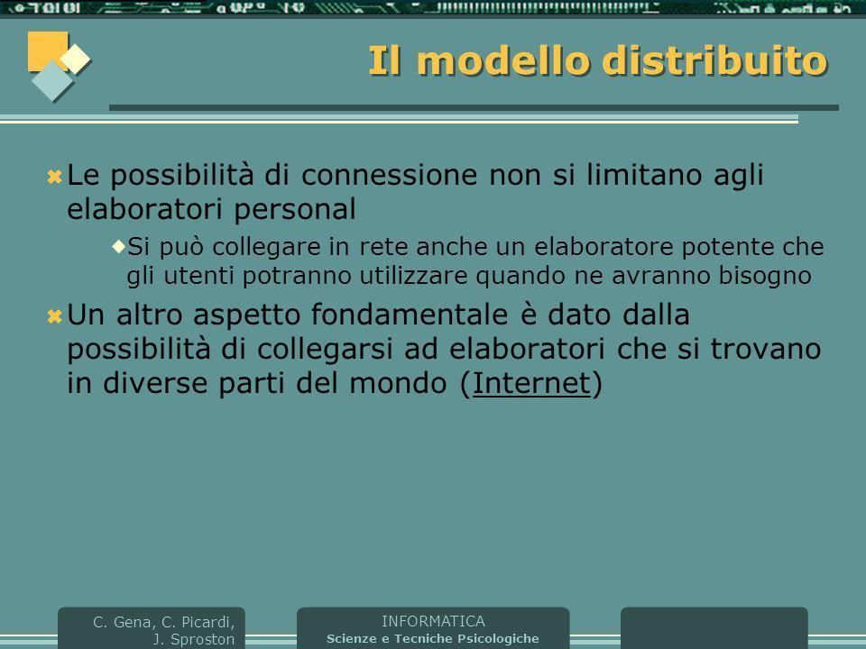 INFORMATICA Scienze e Tecniche Psicologiche C. Gena, C. Picardi, J. Sproston Il modello distribuito  Le possibilità di connessione non si limitano ag